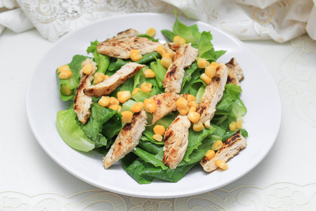 Cos lettuce salad with corn and chicken