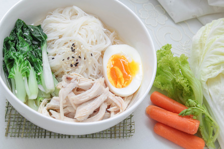 clean food: Noodle soup with chicken