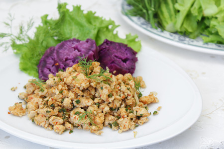 minced: Thai Spicy minced chicken salad