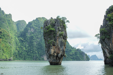 located: James Bond Island is a limestone located in Ao Phang Nga national park, Thailand Stock Photo