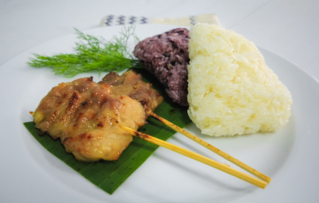 asian foods: grilled pork and sticky rice