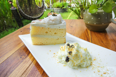 Coconut cake on white plate Stock Photo
