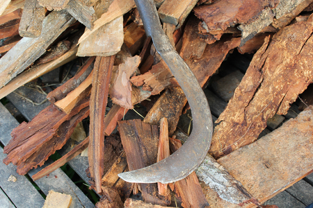 sickle: old sickle on firewood