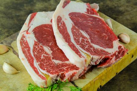rib eye: Slide rib eye beef preparation for cooking