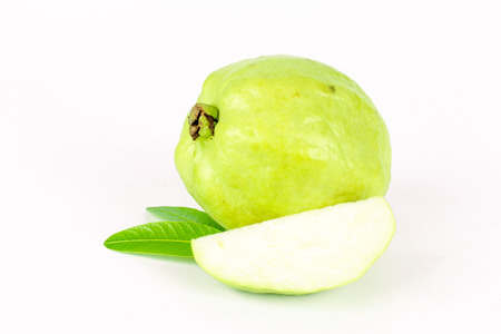 guayaba: Fresh green Guava fruit on white background