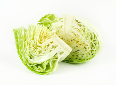 cabbage patch: sliced and cut fresh green cabbage organic vegetable