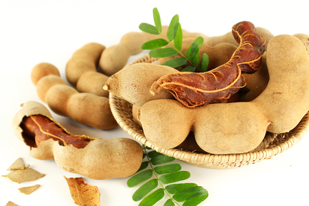 fresh sweet ripe tamarind with leaf, healthy fruit