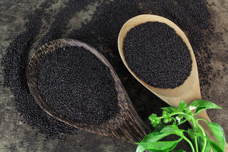 laxatives: raw basil seed, herb in Thai, aids digestion as a laxative