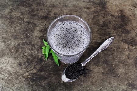 basil seeds soak in water, herb in Thai