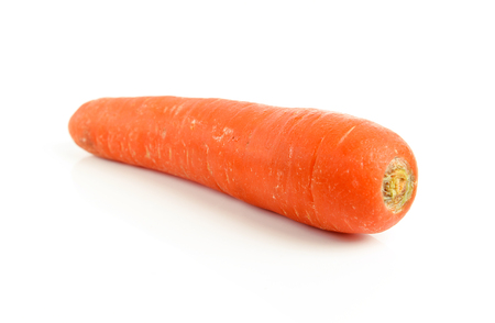 Fresh carrot with celery leaf on white background Stock Photo