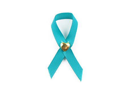 Green ribbons on white background