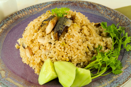 fried rice with fried mackerel and shrimp paste