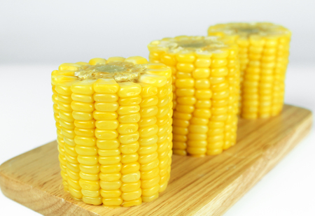 yellow sweet corn isolated on white background Banco de Imagens