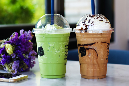 Blended coffee and blended green tea