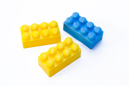 Kid toy collection, toy bricks on white background