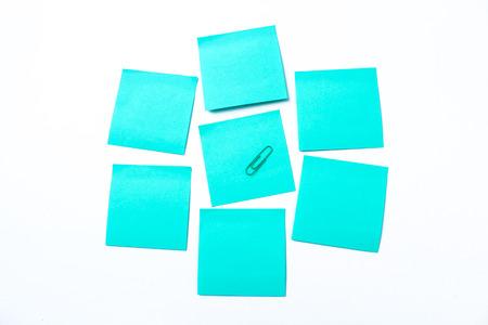 blue sticky note isolate on white background Stock Photo