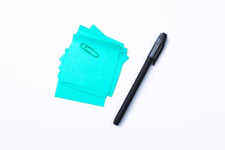 blue sticky note isolate on white background Reklamní fotografie