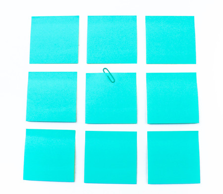 blue sticky note isolate on white background Stock Photo
