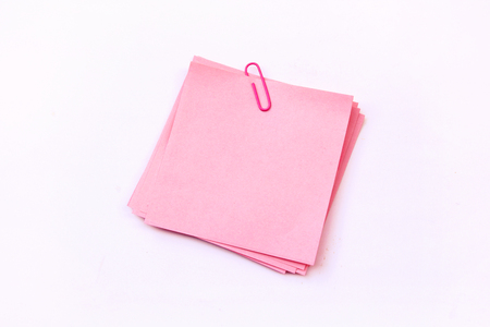 pink sticky note isolate on white background