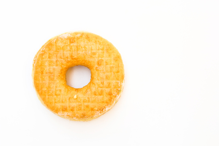 Glazed donut with powder isolated on white background