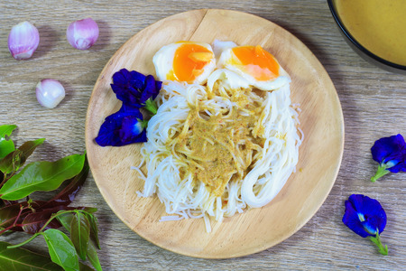 rice vermicelli with curry and boiled eggs, vegetable