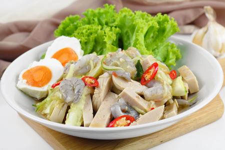 Spicy cucumber salad with shrimp and pork sausage vietnamese style, Thai food Stok Fotoğraf