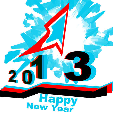 red, white, blue, graph explosion Happy New Year 2013 photo