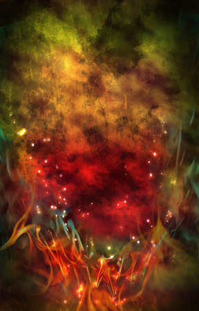 Green & Red Fire Background Stock Photo