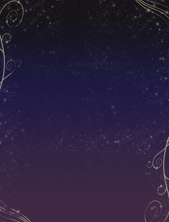 Starry Sky With Floral Swirls Stock Photo