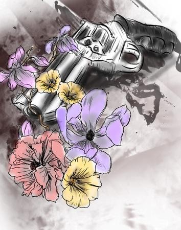 Gun with flowers grunge illustrations Stock Photo