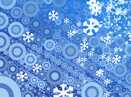 Numerous falling snowflakes on a bluebackground photo