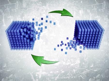 interlinked: 3D modelados conjuntos interrelacionados de cubos y una flecha circular, lo que representa conceptos tales como los sistemas de internet, red, base de datos, sincronizaci�n o el ordenador