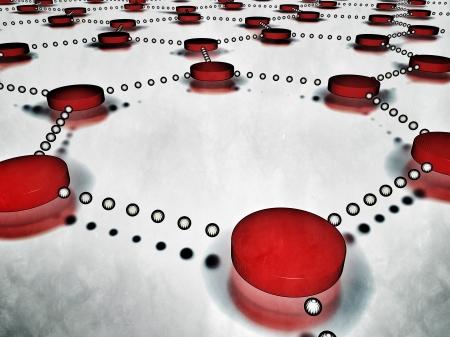 interlinked: Red de nodos interconectados hexagonal, refiri�ndose a conceptos como la gesti�n de proyectos, toma de decisiones, la interdependencia, la comunicaci�n global, la trazabilidad, as� como Internet y otras redes