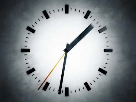notions: Representation of a clock, referring to notions Stock Photo