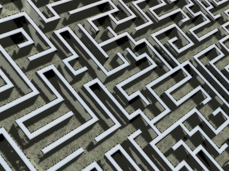 perplexity: rough comics-style closeup illustration of a labyrinth, representing concepts such as difficulty