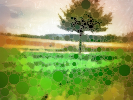 Rough illustration composed of multicolor circles of a tree on a field, referring to concepts such as countryside, vegetation, life, freedom, tranquility, as well as seasons, nature and environment