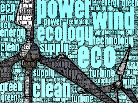 Illustration of wind turbines, made up of words, referring to concepts such as ecology, environmental issues, energy, green technology, as well as innovation