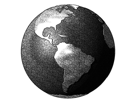 humankind: Comics-style black and white illustration of the planet earth, referring to globalization, international trade, humankind, communication and travel (processed with the use of ToonCamera by CodeOrgana) Stock Photo