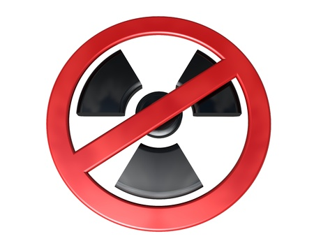 toxicity: 3D-modeled no-radioactivity sign on white background, referring to concepts such as radioactivity, nuclear industry, pollution, danger, toxicity, as well as environmental protection
