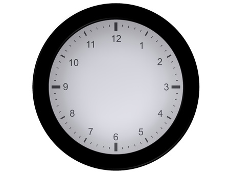 indefinite: Representation of a clock isolated on a white background, without needles, allowing the user to draw them himself where he wants Stock Photo