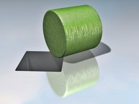 Paradoks: 3D ilustracja cylindra r. na podłodze