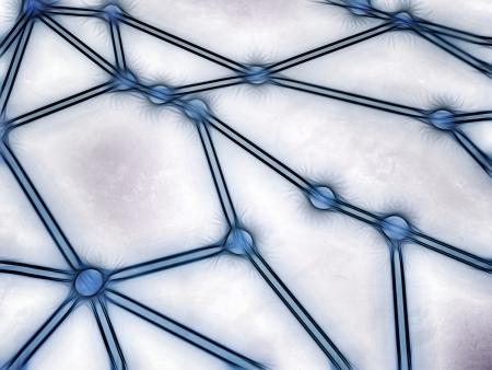 Rough sketch-style illustration of a network with interconnected nodes, referring to concepts such as interdependencies, global communication, traceability, as well as internet and other networks illustration