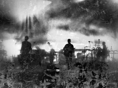 gig: Grunge black and white illustration of a musical group performing on stage at a concert, referring to concepts such as nightlife, entertainment, youth, music, and artistic performance in general