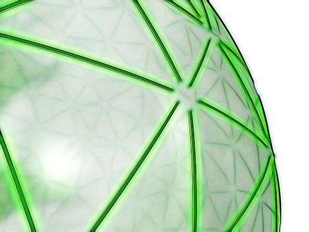 meta: representation of a spheric network, composed of shiny green segments on a semi-transparent grey surface, referring to concepts such as high-technology, logistics, networking and telecommunications Stock Photo