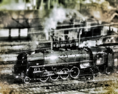 bygone: vintage-style illustration of a steam engine train  141R 1244 Mikado locomotive  passing through a railway station, referring to concepts such as transport, retro vehicles, past century, and mechanics