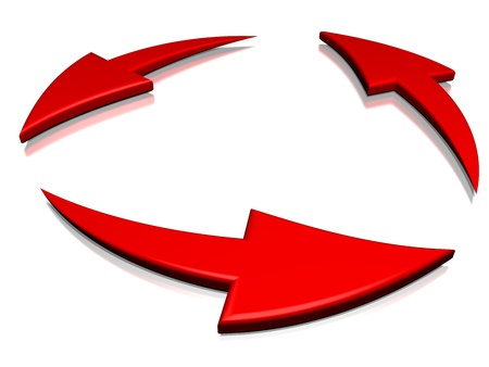 reciprocate: 3 red cyclic arrows on a white background turning on themselves, representing notions such as synchronization, connection, process, movement, cyclical phenomenon, renewal, repetition, rotation, as well time which is going Stock Photo