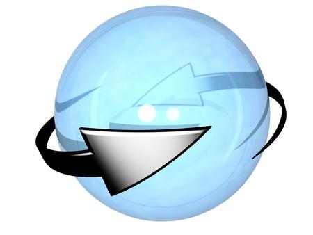 cíclico: Un par de flechas cíclicos grises, perpetuamente girando alrededor de una esfera semitransparente azul, en referencia a conceptos como el proceso de sincronización, la renovación, la repetición, y la rotación Foto de archivo