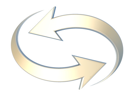 Paar gele gebogen pijlen in tegengestelde richtingen wijzen, verwijzend naar concepten zoals synchronisatie, verbinding, proces, berekening, verlenging of vernieuwing, onderlinge afhankelijkheid, of wederkerigheid