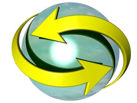 flechas curvas: Un par de flechas curvas amarillas apuntando en direcciones opuestas, girando alrededor de una esfera de color azul turquesa, en referencia a conceptos tales como la sincronizaci�n de los procesos, as� como el intercambio, as� como la renovaci�n Foto de archivo