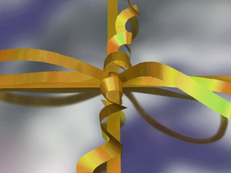 Painting-style close-up representation of a gift box  ribbon and bow , referring to concepts such as christmas, birthday, St Valentine's day, other celebrations and events, as well as the action of offering or receiving a gift